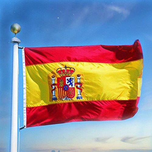 TOPmountain Bandera de España de 3x5 pies con Brisa, Colores Vivos y Resistente a la decoloración UV, Banderas Nacionales españolas, poliéster, con Arandelas de latón, 90 x 150 cm