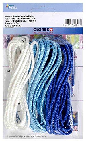 Glorex 6 4000 133 - Paracord weiß, blau, hellblau, 3 Stück, 2 x 4 mm, 3 m lang, hoch reißfestes Nylonseil, zum Knüpfen von Armbändern, Leinen und Bändern
