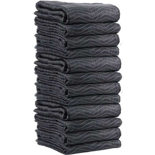 US Cargo Control Supreme Mover Moving Blankets | 72 inch x 80 inch Heavy Duty Black and White Moving Pads| 7.5 pounds each (90 pounds per dozen) | 12 Blankets