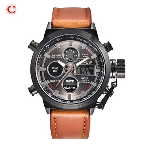 IEason,Mens Quartz Sport Military Army LED Watches Analog Stainless Steel Wrist Watch (C)