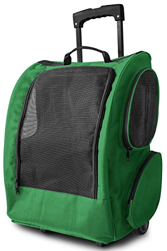 Paws & Pals Dog Backpack, Rolling Pet Carrier with Wheels & Breathable Mesh, Best for Carseat, Travel, Hiking with Small - Medium Dogs, Cat, Rabbits & Ferrets, (Green)