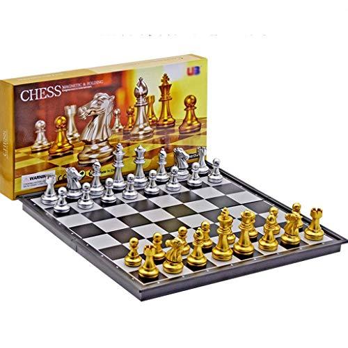 NMDCDH Juego de ajedrez de Viaje magnético Plegable, ajedrez Internacional de plástico, Regalo para Amantes del ajedrez de Viaje y aprendices Juego de ajedrez para Principiantes (Color: d