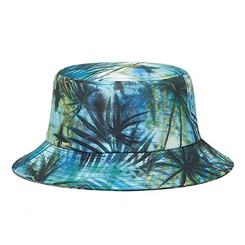 JUNJUNBO Sombrero de Verano para Mujer de Playa de Moda, Gorra de cubo con Estampado de Panamá para Hombre, Sombrero de pescador con patrón al AIRE Libre