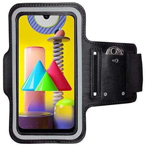 CoverKingz Armtasche für Samsung Galaxy M31 Sportarmband mit Schlüsselfach, Laufarmband Fitness, Handy Armband Schwarz