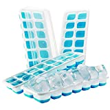 4 piezas de bandejas de silicona para cubitos de hielo con tapa...