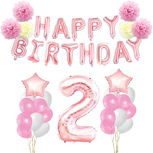 KUNGYO Birthday Decorations Set - Pink Gold 12nd Happy Birthday Party Decorations Kit for Girls Giant Number 2 Helium Balloons Ribbons Pom Poms