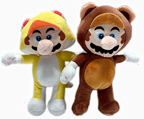 Super Mario 8.5 Inch in Tanooki and Cat Set of 2 Stuffed Plush Doll Toy