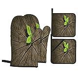 Juego de 4 Guantes y Porta ollas para Horno Resistentes al Calor Nuevo Crecimiento Viejo Concepto Árbol Reciclado para Hornear en la Cocina,microondas,Barbacoa