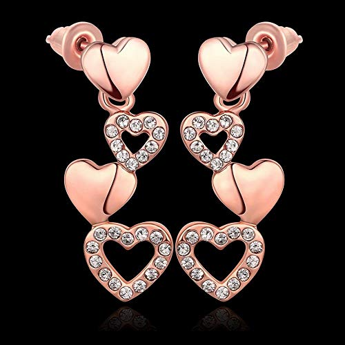 TIANYOU a Pair of Women's Environmentally Friendly Gold Zircon Heart-Shaped Earrings/Hypoallergenic/Silver Glitter/Diamond/Small and Exquisite Fashion Wild/B/Seductive