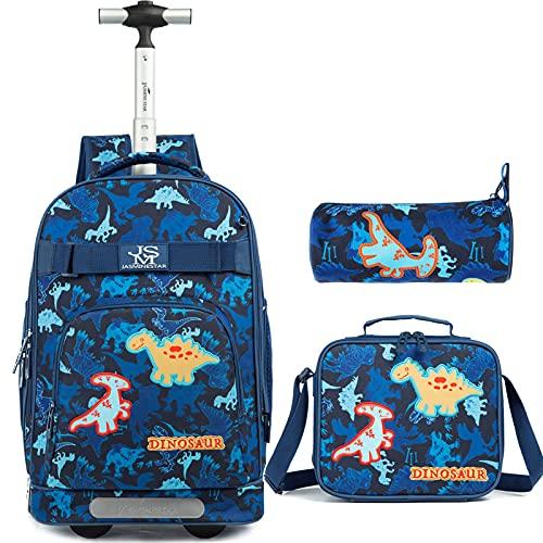 Trolley ragazzi Zaino per dinosauri Zaino per scuola Elementare Zaino per Ruote Impermeabile 3 IN 1 con Astuccio, borsa per il pranzo, Strisce Riflettenti di Sicurezza e Sei Ruote, blu, 18''