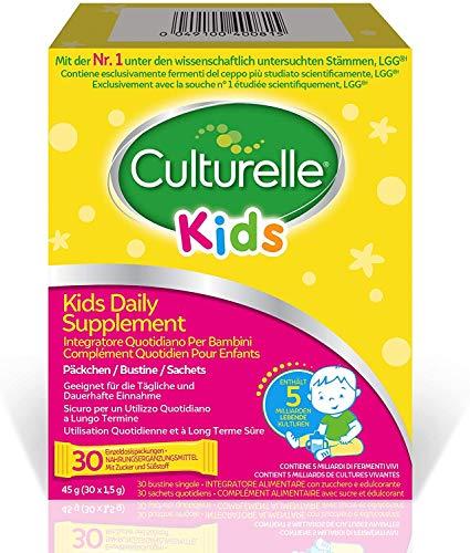Culturelle Kids Food Supplement for Children | 30 Sachets | 5 Billion Bacterial Cultures | Lactobacillus Rhamnosus GG | Gluten-Free | 30 Days Supply