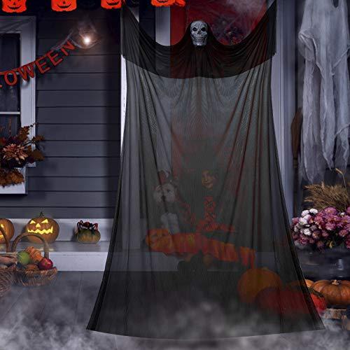 Vintoney Halloween colgante fantasma decoraciones, decoración de Halloween, gasa negra colgante esqueleto apoyos para el hogar, fiesta, bar, veranda, porche, aleros, casa encantada