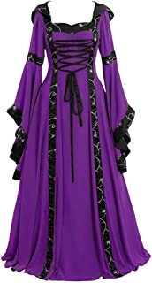 NIUBIA Womens Deluxe Medieval Renaissance Costumes Halloween Cosplay Dress Waist Tie Irish Over Victorian Retro Gown