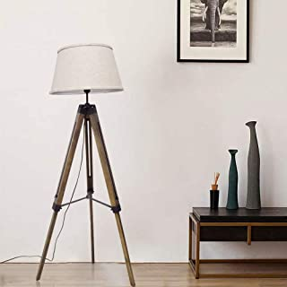 DLLT led Tripod Floor lamp Wood mid Century Modern Reading lamp,8W Rustic Standing Lamps Farmhouse for Living Room Bedroom Study Room and Office,Flaxen Lamp Shade with E26 lamp Base