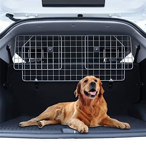 Pujuas Poggiatesta Auto per Cani, Lunghezza regolabile (90-155 cm), Rete Auto per Cani Griglia divisoria Universale Auto per Trasporto Animali