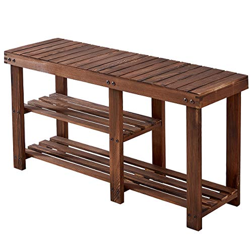 Wood Shoe Bench, Solid Pine Shoe Rack Bench, Shoe Rack Entryway, 3 Tier, Boots Organizer, Holds Up to 300 Lbs, Rustic Brown