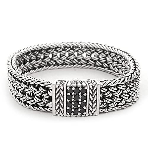 Shadi - Pulsera de plata y circonitas negras - joyería de plata artesanal