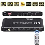 4K HDMI Matrix Switch, 4x2 HDMI Matrix Switcher Splitter 4 in 2 Out with EDID Extractor and IR Remote Control, Support 4K HDR, HDMI 2.0b, HDCP 2.2 4K@60Hz, 3D, 1080P