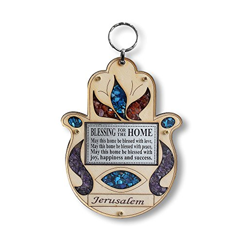 My Daily Styles Wooden Hamsa Blessing for Home – Good Luck Gerusalemme Decorazione da Parete con finte Pietre preziose