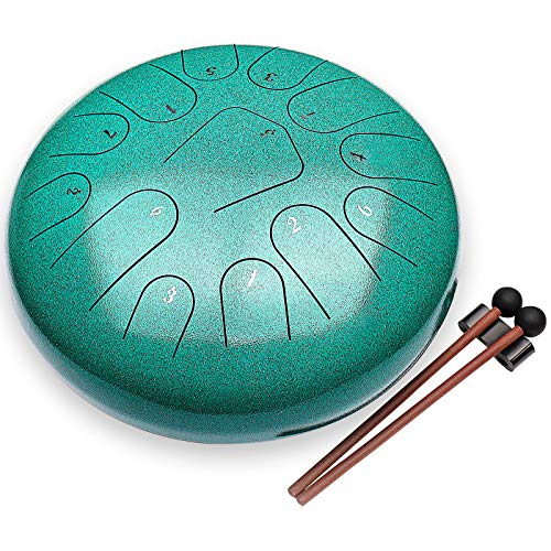 Steel Tongue Drum - 13 Notes 12 Inches C Key - Percussion HandPan Drums Kit - Soul Musical Instruments Sets with Padded Travel Bag Finger Picks Mallets for Gifts,Religious,Mental Massage(Green)