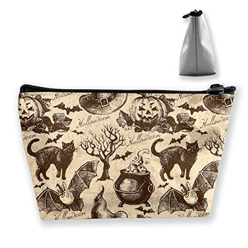 Happy Halloween Crazy Party Frauen Kosmetiktaschen Tragbare Tasche Trapez Aufbewahrungstasche Reisetasche mit Reißverschluss Tragbar 5547