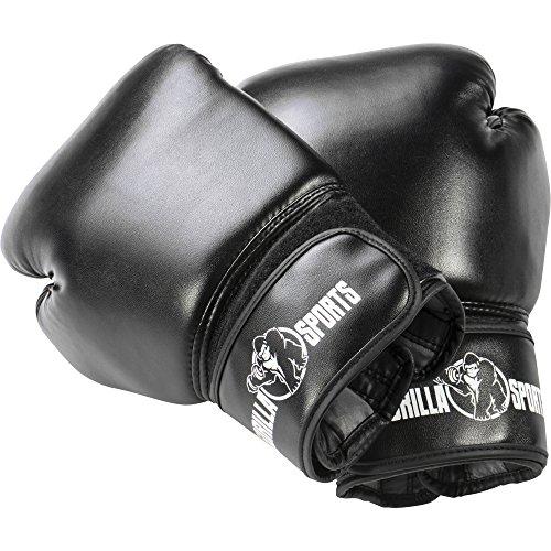 GORILLA SPORTS® Boxhandschuhe Kunstleder mit Klettverschluss Schwarz – Kampfsport-Handschuhe 12 oz