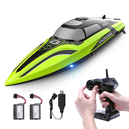 DEERC 2008 RC Boat Remote Control Boat with LED Light for Pools &...