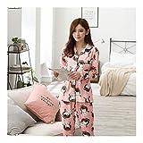 HAOLIEQUAN Spring Pajamas Sets for Women Knitted Cotton Long-Sleeve Sleepwear Suit Female Big Size M-2Xl Pyjamas Lady Leisure Homewear -