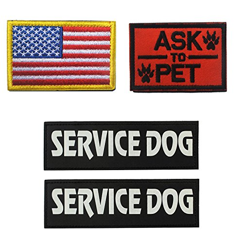 Homiego Military Morale Service Dog Patch for Pet Tactical K9 Service Harness Vest Pack of 4 (1)