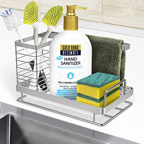 ODesign Kitchen Sink Caddy Organizer Sponge Soap Brush Holder with Drain Pan SUS304 Stainless Steel - RUSTPROOF