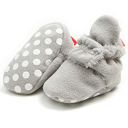 Babelvit Newborn Baby Boy Girl Soft Fleece Booties Stay On Slippers Socks Shoe Non Skid Gripper Infant Toddler First Walkers Winter Ankle Crib Shoes