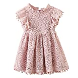 1-5T Kids Girl Hollow Lace Dress pom pom Short Sleeve Princess Frilled Waist Dress 2-3T Pink