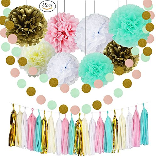 Sorive Bridal Shower Decorations Mint Baby Pink White Gold Tissue Pom Poms Paper Flowers Ball Tassel Garland Best For Mint Theme Party Decorations Birthday Baby Shower Wedding Nursery Decoration