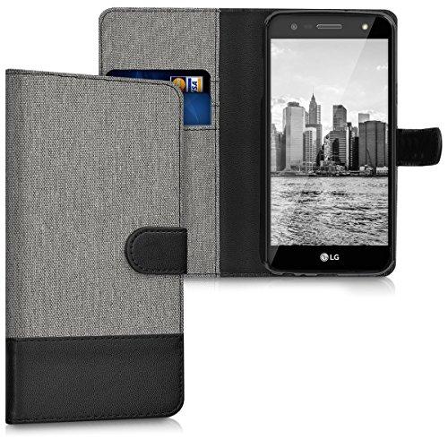 kwmobile Wallet Hülle kompatibel mit LG X Power 2 - Hülle mit Ständer - Handyhülle Kartenfächer Grau Schwarz