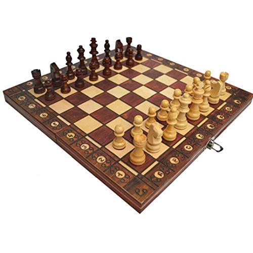 Odoukey Juego de ajedrez de 3 en 1 Placa magnética Plegable Ajedrez Ajedrez Juego de Mesa Plegable de Madera de ajedrez de Brown Junta Set 29 * 29cm