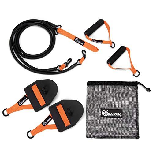 TAALOGA® 2in1 Zugseil Schwimmen I Schwimmtraining I Zugseiltraining mit Handpaddles und Griffen