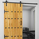 Lyrlody - Juego completo para puertas correderas, ferretería deslizante, acero deslizante Barn Hardware Kit, riel para puerta corredera Kit, tobogán Barn Wood Closet Track Set,6,6 FT/6 FT