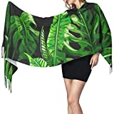 Nice-Guy Tropical Palm Leaves Seamless Soft Vector Fringe Scarf Womens Chal Wrap Fringe 77x27inch