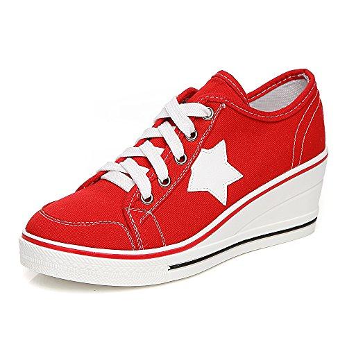 OCHENTA Mujer Lona de la Manera de la Cuna de Tacon Cerrado Deporte Zapatos Cordones #3 Rojo 37