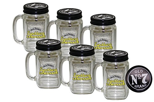 6x Jack Daniels Lynchburg Lemonade Glas - Original - mit Deckel