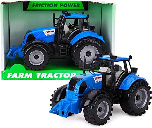 Trattore agricolo motorizzato con attrito 22cm x 12cm ToylandⓇ con Cofano apribile - Blu