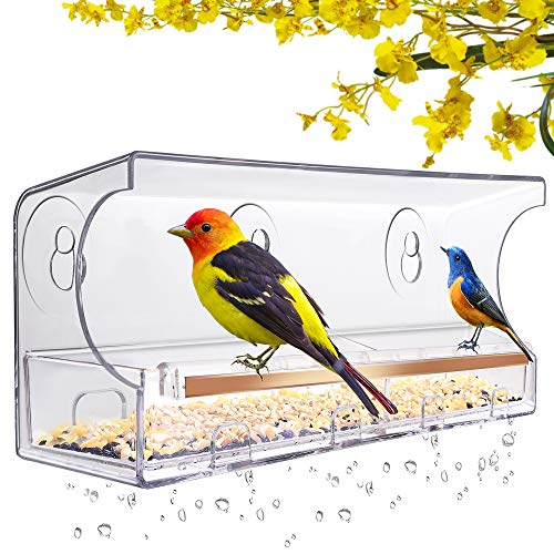 LUJII Window Bird Feeder with Strong Suction Cups and Slid Seed Tray, for Wild Birds, Anti-Shock Anti-Pressure Very Strong, Rounded Corners Very Safe. Drain Holes, 5 Suction Cups, Great Gift (Golden)