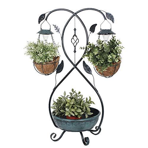 LED Solar Pflanz Ständer Kasten Schale Blätter Design Garten Blumen Ampel Lampe Harms 315127