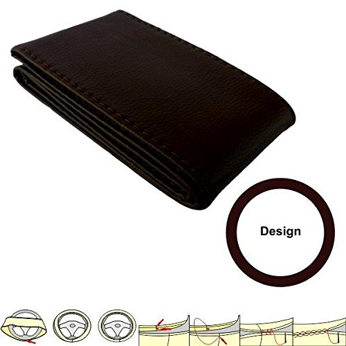 akhan sc104b Brown Steering Wheel Cover Steering Wheel Cover Protector Cover 37 – 39 cm Leather with Laces
