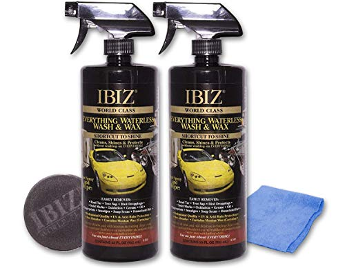 IBIZ Waterless 64oz Car Wash and Wax – PREMIUM USA Made w/ Carnauba Wax – Non-Abrasive Formula w/ UV & Acid Rain Protection – Clean & Shine Your Car, SUV, Truck, RV or Boat – Best Value