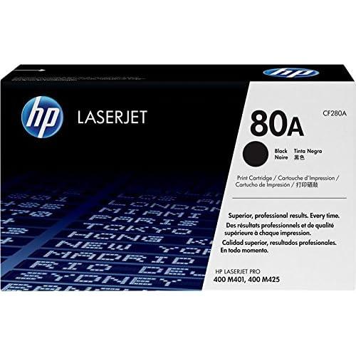 HP 80A CF280A, Cartuccia Toner Originale, da 2.560 Pagine, Compatibile con Stampanti HP LaserJet Pro 400 M401a, M401d, M401dn, M402dne, M401dw, MFP M425dn e M425dw, Nero