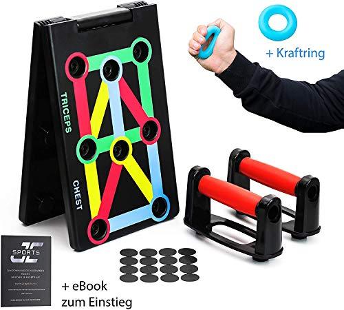 12 in 1 Push Up Board faltbar, Push-up Rack Board System mit Farbcodierung und Handgriff, zusammenklappbares Liegestütze Brett inkl. Gummiring zur Stärkung der Griffkraft und eBook zum Download.