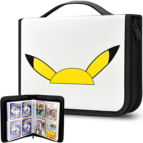 Álbum de 480 hojas de cartas, compatible con tarjetas de Pokemon Trading Cards, funda organizadora para M.T.G, C.A.H, Yu-Gi-Oh Baseball y más tarjetas de juego, color blanco