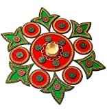 Moira Acrylic Rangoli With Diya (Red Green)