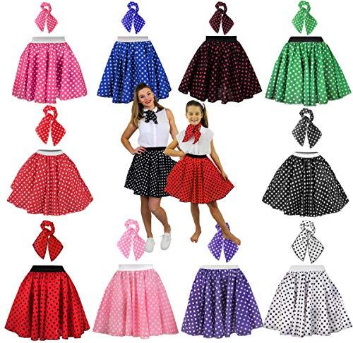 ILOVEFANCYDRESS Tenue rock and roll composée d'une jupe à pois style années 50 longueur 66 cm et foulard assorti